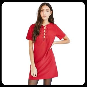 Lucca Red Short Sleeve Lace Up Shift Mini Dress